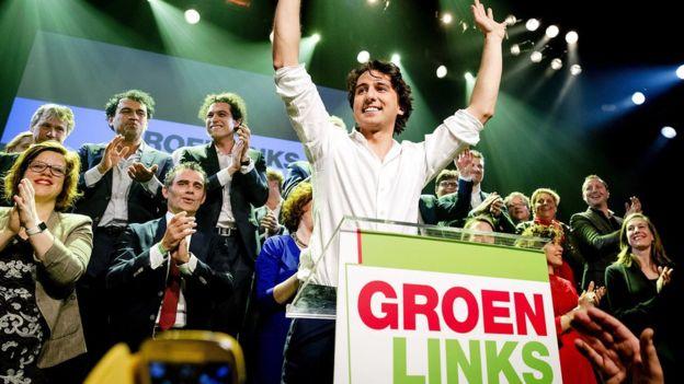 """""""Hemos derrotado al populismo"""", exclamó el gran vencedor de la jornada electoral, Jesse Klaver, del partido Izquierda Verde (GroenLinks). EPA"""