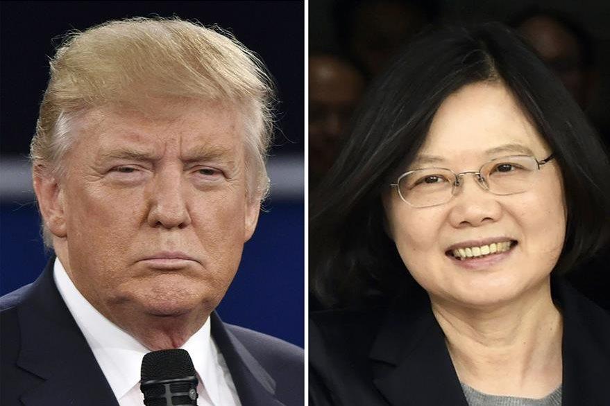 Donald Trump, presidente electo de EE. UU., (I) y Tsai Ing-wen, presidenta de Taiwán (d). La conversación entre ambos desató una polémica con China. (Foto Prensa Libre: AFP).
