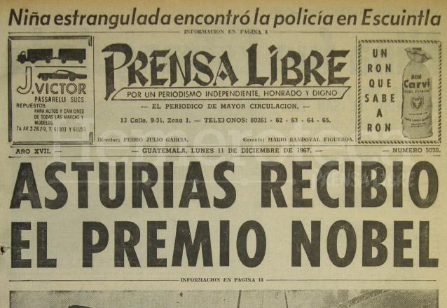 Titular de Prensa Libre del 11 de diciembre de 1967 anunciando el Premio Nobel de Literatura concedido a Miguel Ángel Asturias. (Foto: Hemeroteca PL)