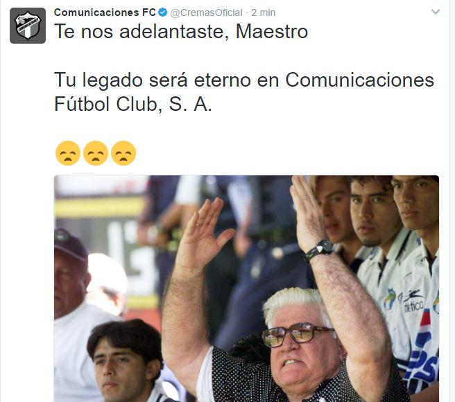 Comunicaciones lamenta el fallecimiento de Carlos Miloc. (Foto Prensa Libre: Twitter Cremas)