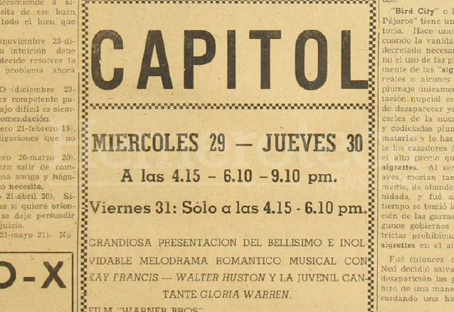 Anuncio del cine Capitol publicado el 28 de agosto de 1951. (Foto: Hemeroteca PL)