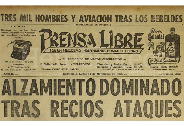Titular de Prensa Libre del 14/11/1960. (Foto: Hemeroteca PL)