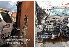 Tres personas resultaron heridas por el choque de un camión y un autopatrulla de la Policía Naciona Civil. (Foto Prensa Libre: PMT)