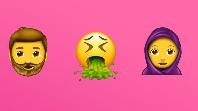 Unicode acaba de revelar nuevos emojis, entre ellos el de un hombre barbudo y una mujer con pañuelo islámico (EMOJIPEDIA).