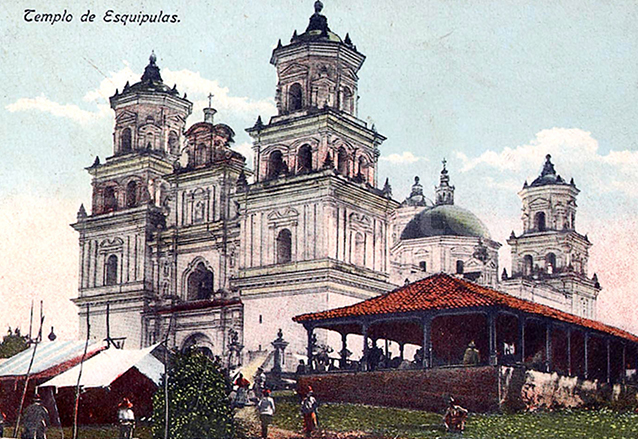 Foto de principios del siglo XX de la Basílica de Esquipulas, Chiquimula. (Foto: Hemeroteca PL)