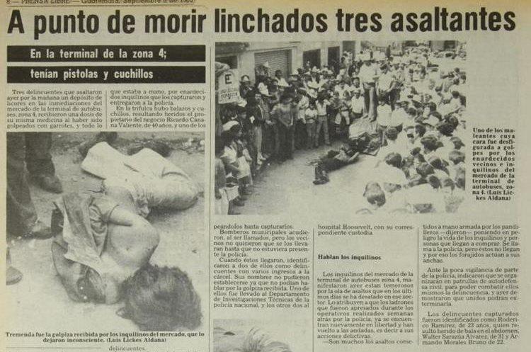 En La Terminal, zona 4 de la capital, tres supuestos asaltantes fueron vapuleados por un grupo de locatarios, publicó Prensa Libre el 6 de septiembre de 1983.