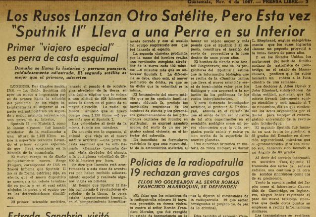 Nota periodística del 4 de noviembre de 1957 dando a conocer el viaje espacial de la perra Laika a bordo del satélite Sputnik II. (Foto: Hemeroteca PL)