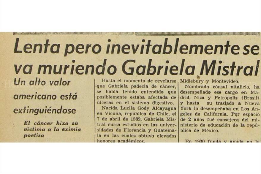 La enfermedad apagaba la luz de vida  de la poetisa Gabriela Mistral 08/01/1957. (Foto: Hemeroteca PL)