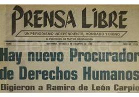 Titular de Prensa Libre del 8/12/1989. (Foto: Hemeroteca PL)