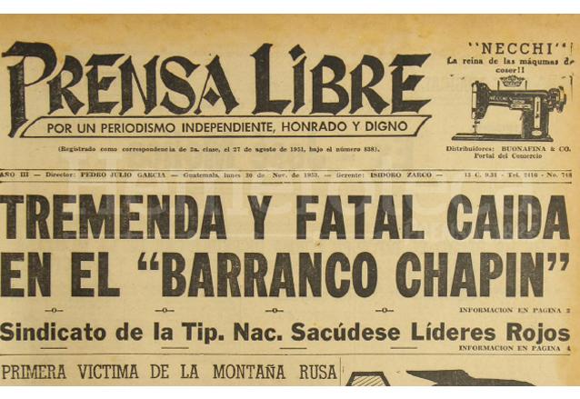 Titular de Prensa Libre del 30 de noviembre de 1953. (Foto: Hemeroteca PL)