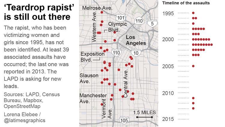 El hombre que no ha sido capturado, es culpable de 39 casos de violación. (Fotoarte Prensa Libre: latimes.com)