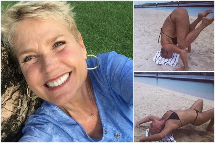 Xuxa mostró en Instagram su destreza en la práctica de yoga en una playa. (Fotos Prensa Libre: Instagram)