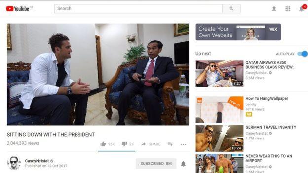 La entrevista al presidente de Indonesia que subió Neistat a su canal fue bloqueada de avisos publicitarios, hasta que el vlogger apeló la decisión. (Foto: YouTube Casey Neistat)