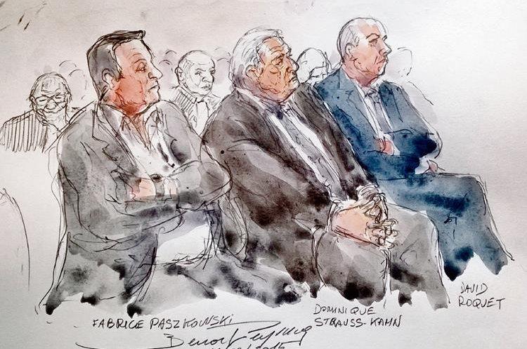 Ilustración muestra a Fabrice Paszkowski, Dominique Strauss-Kahn y David Roquet.