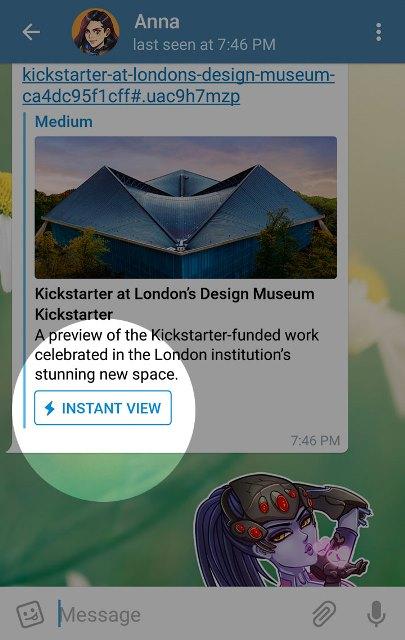 Ahora la  app muestra la opción de visualizar los artículos de una manera más rápida. (Foto Prensa Libre: Telegram).