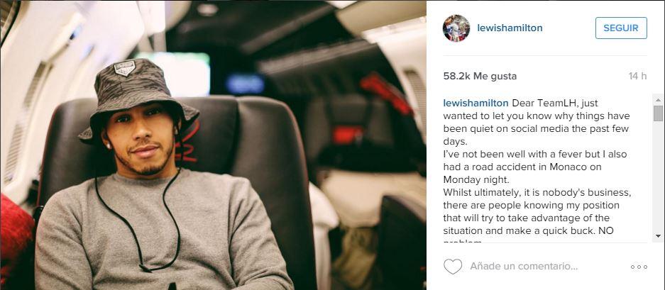 Está es la publicación de Hamilton en su cuenta de Instagram. (Foto Prensa Libre: Instagram Lewis Hamilton)