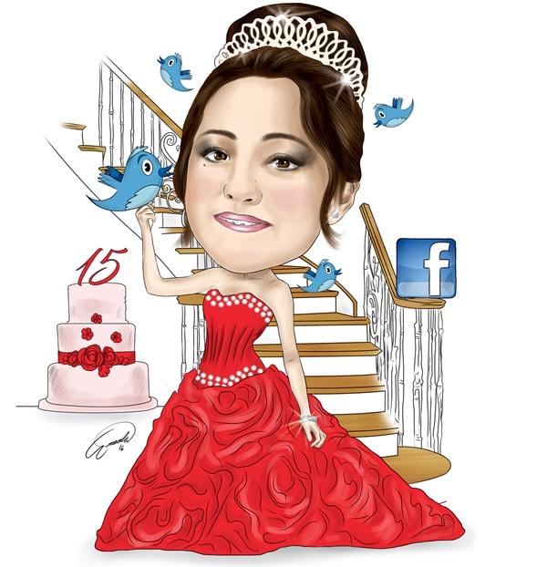 La invitación a los 15 años de Rubí Ibarra García se viralizó en las redes sociales. (Ilustración Prensa Libre: Esteban Arreola)