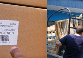 Etiqueta muestra fecha de vencimiento, a un costado, camión vehículo que transportaba parte de la donación. (Foto Prensa Libre: Héctor Contreras).