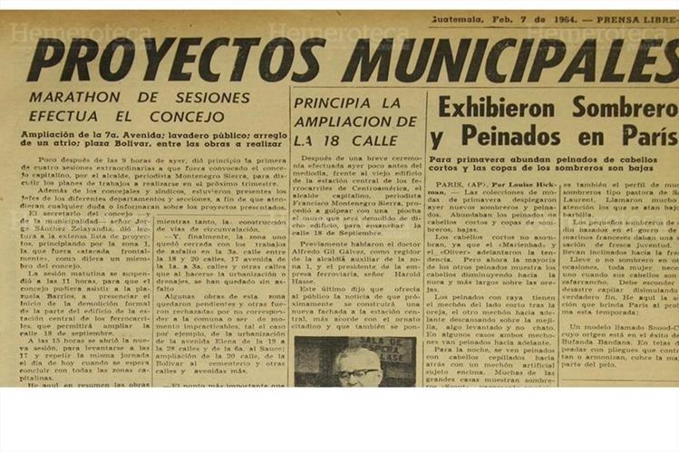 La municipalidad capitalina anunciaba las distintas obras que realizaría en la ciudad el 7/2/1964. (Foto: Hemeroteca PL)