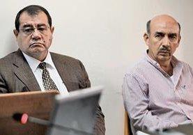 Napoleón Rojas Méndez y Jacobo Salán Sánchez, acusados de peculado por el desvío de Q120 millones del Ministerio de la Defensa.