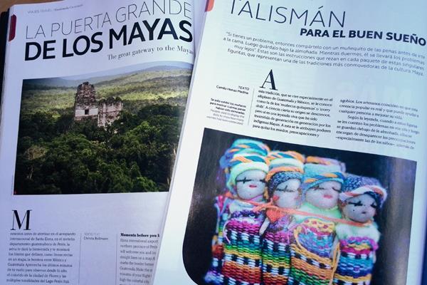 La imagen y datos de destinos turísticos y tradiciones de Guatemala llega a cientos de pasajeros de Avianca. (Foto, Prensa Libre)