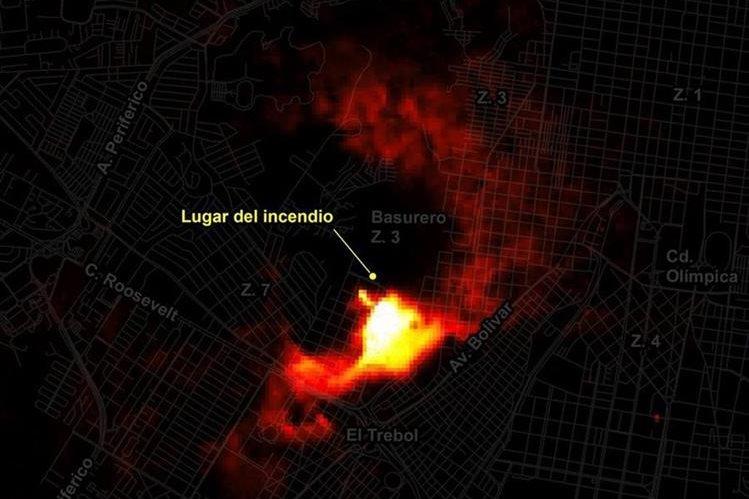 La imagen satelital muestra la radiación que provocó el incendio en la zona 7.(Foto Prensa Libre: Rüdiger Escobar)