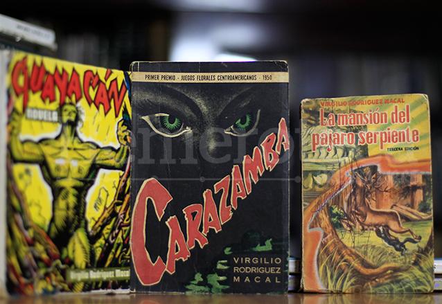 Portadas de los libros Guayacán, Carazamba y la Mansión del Pájaro Serpiente, obras de Rodríguez Macal. (Foto: Hemeroteca PL)