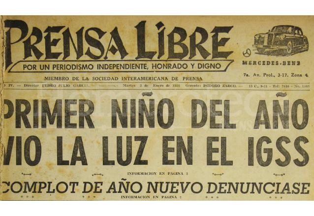Titular de Prensa Libre del 3/01/1956. (Foto: Hemeroteca PL)