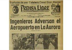Portada de Prensa Libre del 1/6/1959, sobre la construcción del Aeropuerto. Foto: Hemeroteca PL)