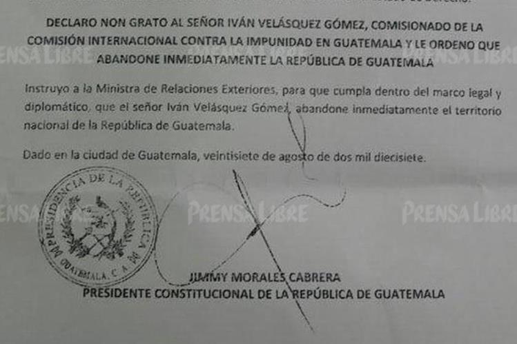 Extracto de la carta con la que Jimmy Morales declara non grato a Iván Velásquez. (Foto Prensa Libre: Cortesía).