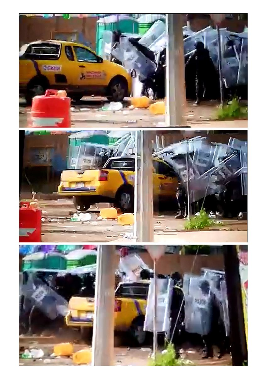 Combo de fotografías que muestra a un individuo lanzar su vehículo a un grupo de Policías Federales que contenían las protestas de decenas de manifestantes en una terminal de almacenamiento de Petróleo Mexicano (Pemex), en Rosarito (México). (Foto Prensa Libre:EFE)
