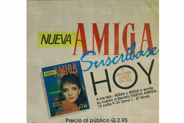 Publicacion  del primer anuncio, el cual da a conocer la revista Amiga, que publicara Prensa Libre. Foto. Hemeroteca PL.