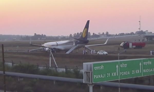 El avión de Jet Airways se salió de la pista del aeropuerto internacional de Goa.(AP).