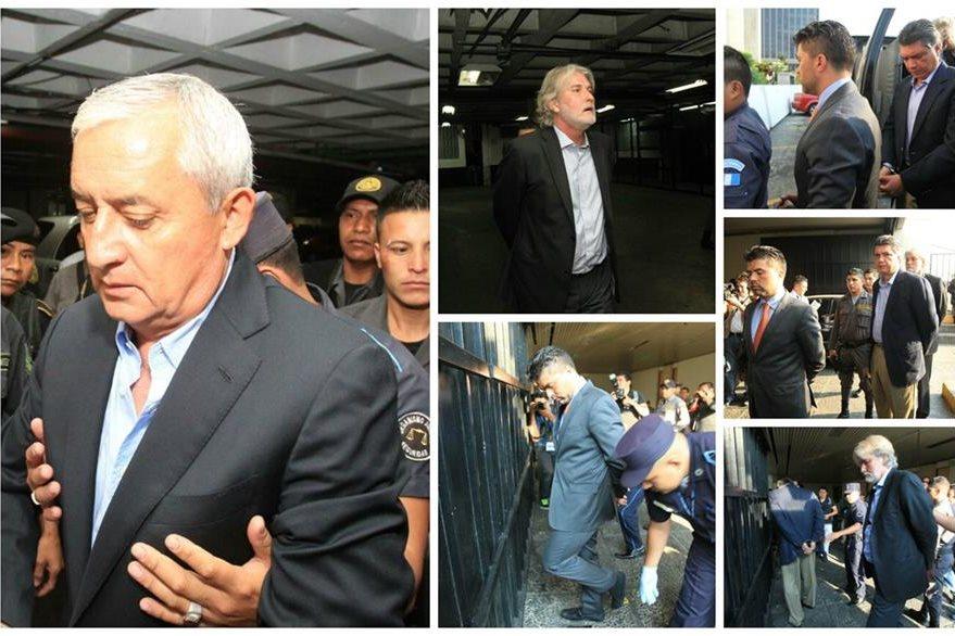 Los implicados en el caso TCQ, encabezados por Otto Pérez Molina, ingresan a la Torre de Tribunales. (Foto Prensa Libre: Estuardo Paredes)