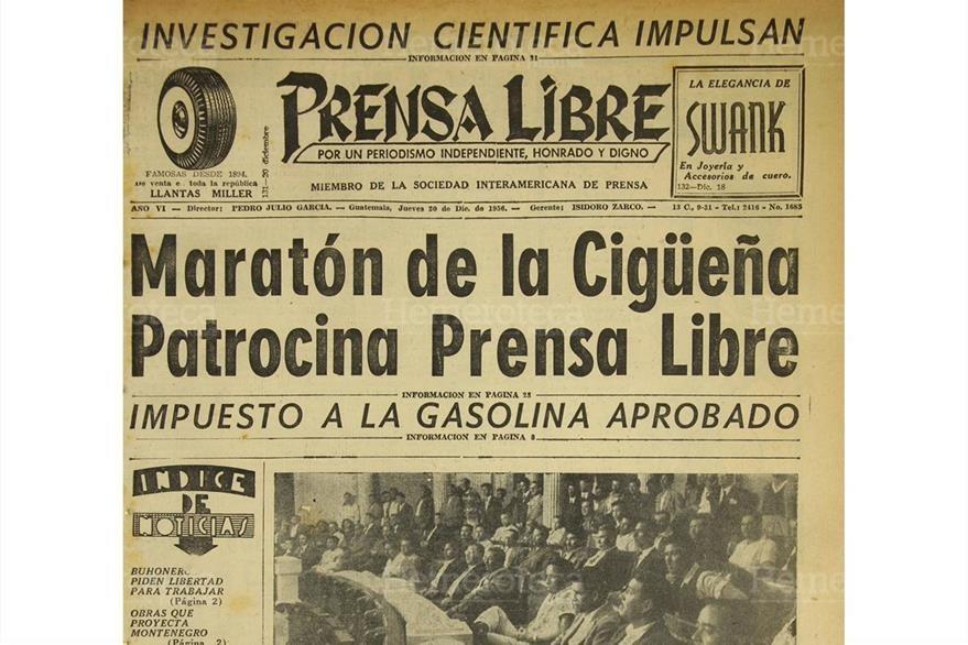 Portada del 20/12/1956 Prensa libre patrocina la Maratón de la Cigüeña. (Foto: Hemeroteca PL)