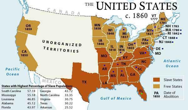 De café, más oscuro, figuran los 13 estados de la Unión Americana que de 1861 a 1865 fueron un país independiente. (Foto: Internet).