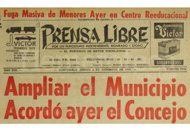 Titular de Prensa Libre del 4/12/1969. (Foto: Hemeroteca PL)