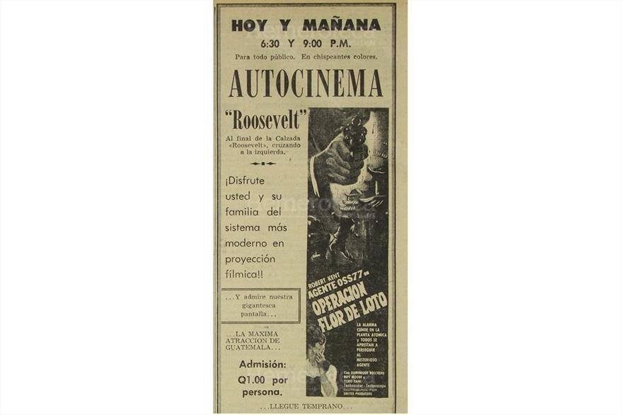 Anuncio de la proyección de la película Operación de Lotto el 19 de octubre de 1968. (Foto: Hemeroteca PL)