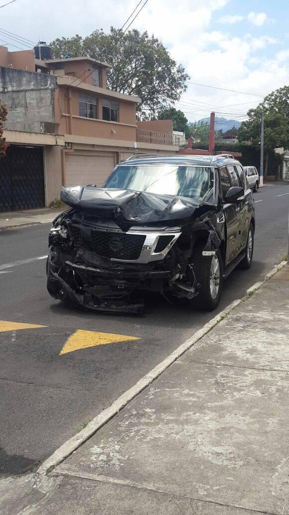 Baldetti habría resultado lesionada durante el choque en la zona 15. (Foto Prensa Libre: E. Paredes)