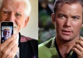 Martin Cooper (izda), inventor del teléfono móvil y el capitán Kirk (dcha) mostrando su comunicador. (GETTY IMAGES).