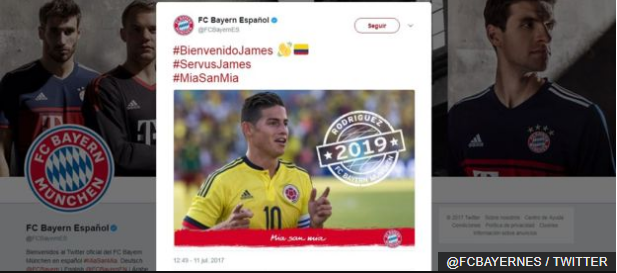 El Bayern le dio la bienvenida al mediocampista colombiano con las etiquetas #ServusJames y #MiaSanMia.
