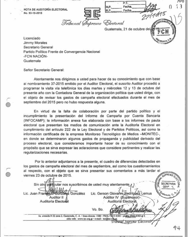 El 21 de octubre de 2015, el TSE notificó a Jimmy Morales que se pretendía hacer una revisión de los gastos de campaña con la contadora, pero que no se tuvo respuesta.
