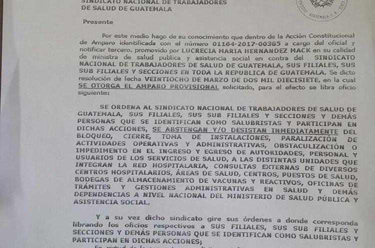 Notificación de la resolución que ordena a sindicalistas no realizar bloqueos en unidades de salud.
