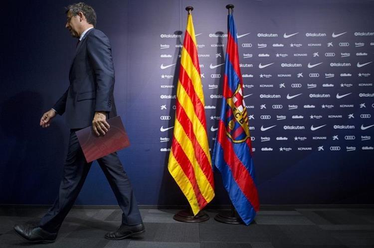 Josep María Bartomeu, presidente del FC Barcelona ha sido enfático en su mensaje en favor de una Cataluña que pueda elegir sobre su futuro. (Foto Prensa Libre: AFP)
