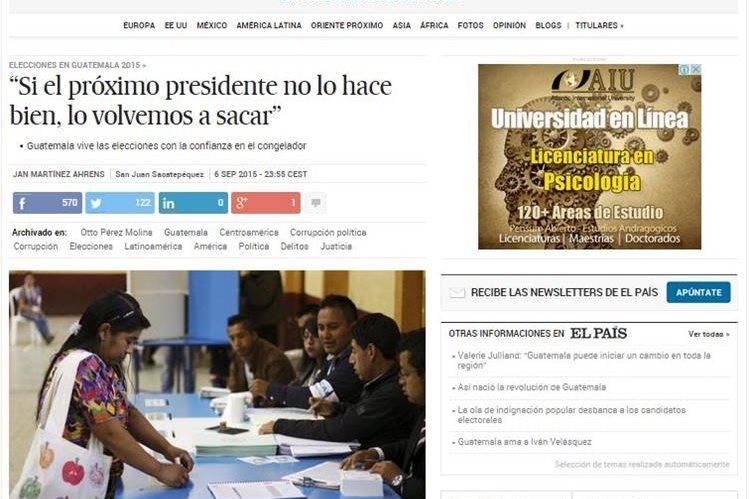 El diario El País destaca en su página principal el proceso eleccionario de Guatemala.