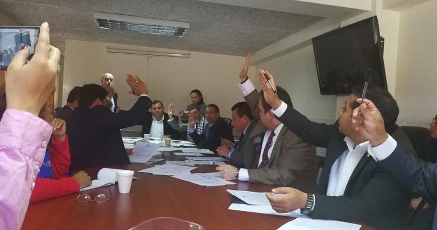 Comisión vota sobre los integrantes directivos de Conamigua. (Foto Prensa Libre: Carlos Álvarez)
