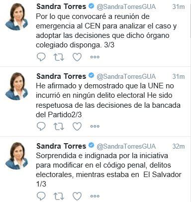 Sandra Torres emitió un mensaje en Twitter para rechazar el actuar del Congreso. /Foto Prensa Libre: Twitter / @SandraTorresGUA)