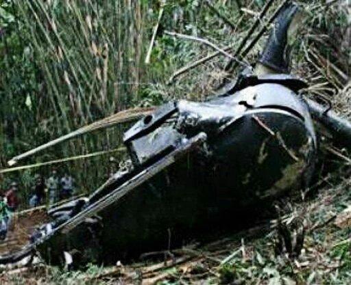 El helicóptero militar siniestrado en Indonesia. (Foto: Prensa Libre/@Conradoaviacion).