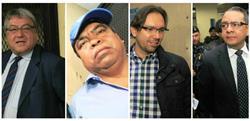Diputados César Fajardo y Marcelino García, y los exdiputados Aleksander Castillo y Selvin García, todos detenidos por plazas fantasma. (Foto Prensa Libre: Estuardo Paredes)