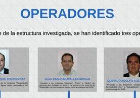 Alejandro Enrique Toledo Paz, Juan Pablo Muralles Morán y Gustavo Alejos Cambara, señalados como los operadores de la estructura denominada Negociantes de la Salud. (Foto Prensa Libre: MP)